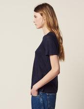 Short-Sleeved Linen T-Shirt : null color Terracotta