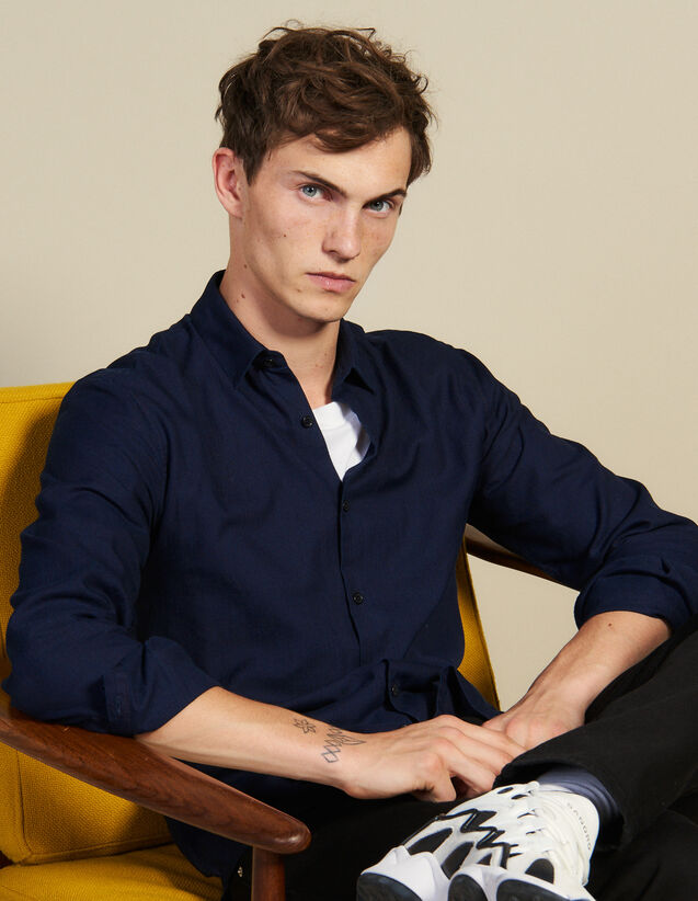 Shirt In Tone-On-Tone Herringbone Fabric : Sélection Last Chance color Navy Blue