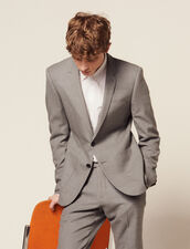 Piqué Wool Suit Jacket : LastChance-FR-H40 color Light Grey