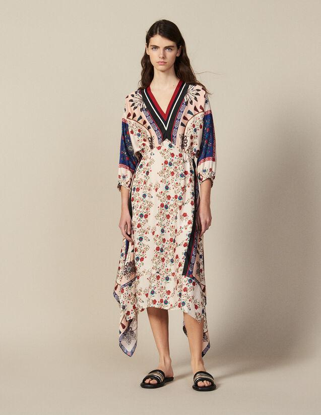 Printed Asymmetric Dress With Braid Trim : Dresses color Multi-Color