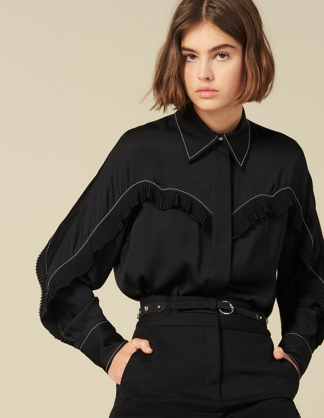 Shirt With Western-Style Cut-Outs : LastChance-ES-F40 color Black