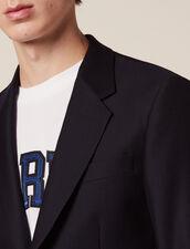 Basketweave Wool Suit Jacket : Suits & Tuxedos color Navy Blue