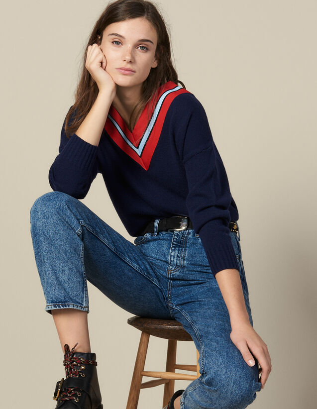 Sweater With Contrasting Stripes : Copy of VP-FR-FSelection-Pulls&Cardigans color Pink