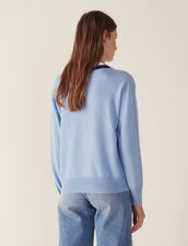 V-Neck Sweater With Two-Tone Edging : null color Sky Blue