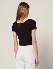 Knit Top With Short Sleeves : null color Black