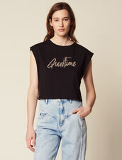 Cropped T-Shirt With Beaded Lettering : null color Black