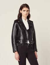 Short Leather Jacket : Blazers & Jackets color Black