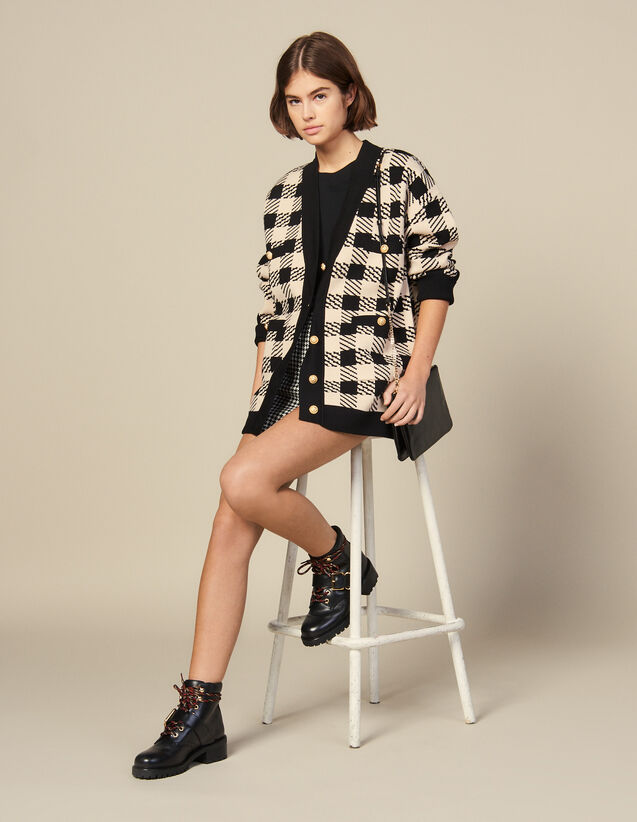 Loose-Fitting Checked Cardigan : Sweaters & Cardigans color Beige
