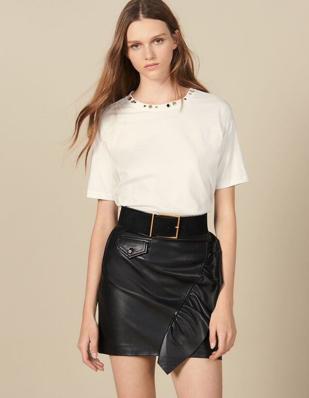 Short Leather Skirt With Ruffle : Skirts & Shorts color Black