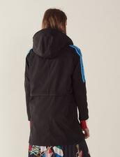 Windbreaker Coat With Lettering On Trim : Coats color Black