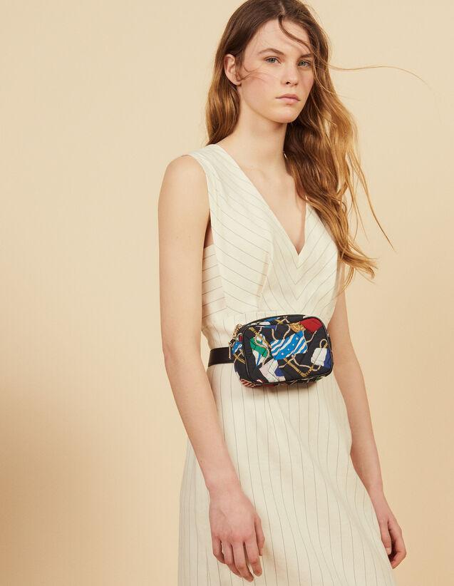 Structured Midi Dress With Fine Stripes : Dresses color white