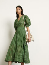 Long broderie anglaise dress : Dresses color Olive Green