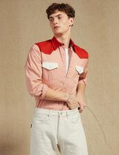 Colourblock Western-Style Shirt : SOLDES-CH-HSelection-PAP&ACCESS-2DEM color Blue