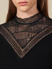 T-Shirt With Lace Panel : T-shirts color Black