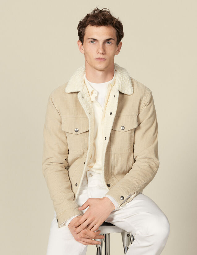 Corduroy jacket, faux sheepskin lining : Blazers & Jackets color Beige