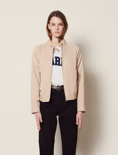 Cropped Plain Flowing Jacket : Blazers & Jackets color Sand