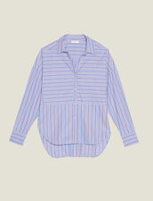 Cotton Shirt With Stripes : null color Blue