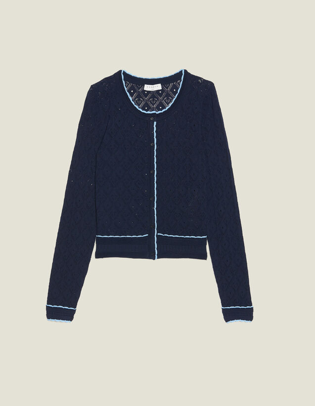 Cropped Pointelle Knit Cardigan : Sweaters & Cardigans color Navy Blue