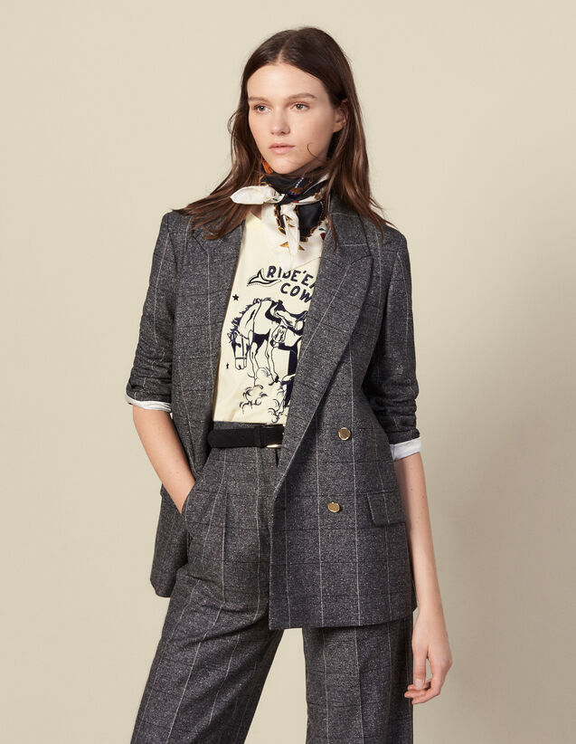 Checked tailored jacket : LastChance-ES-F30 color Grey