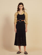 Long Knit And Crochet Dress : null color Black