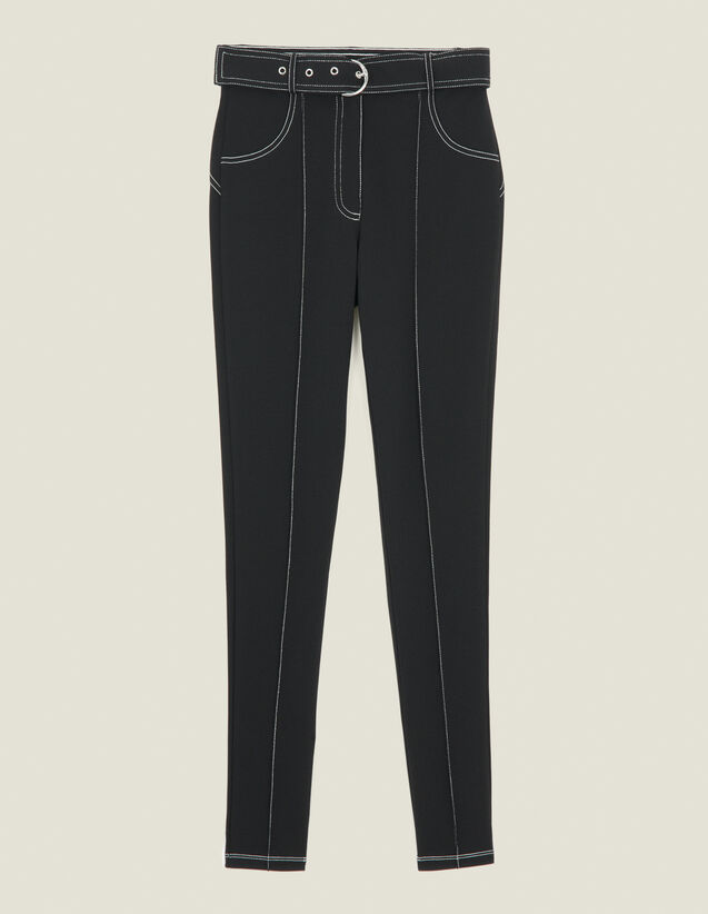 Leggings With Contrasting Topstitching : Pants color Black