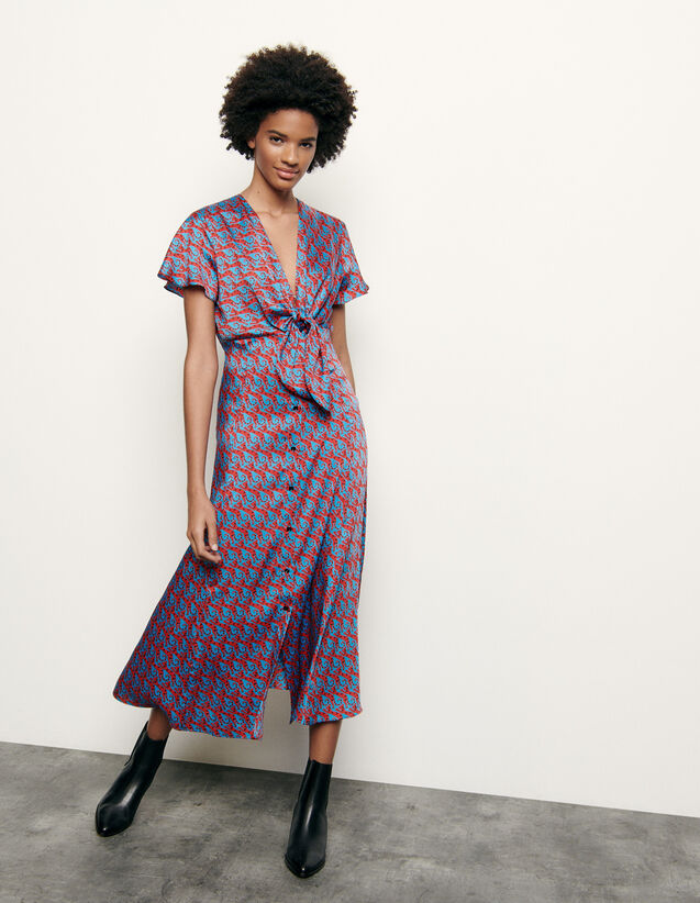 Long printed dress with tie fastening : Summer Collection color Blue