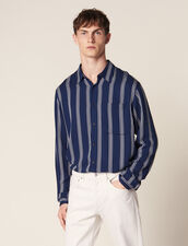 Long-Sleeved Striped Shirt : Summer Collection color Navy Blue