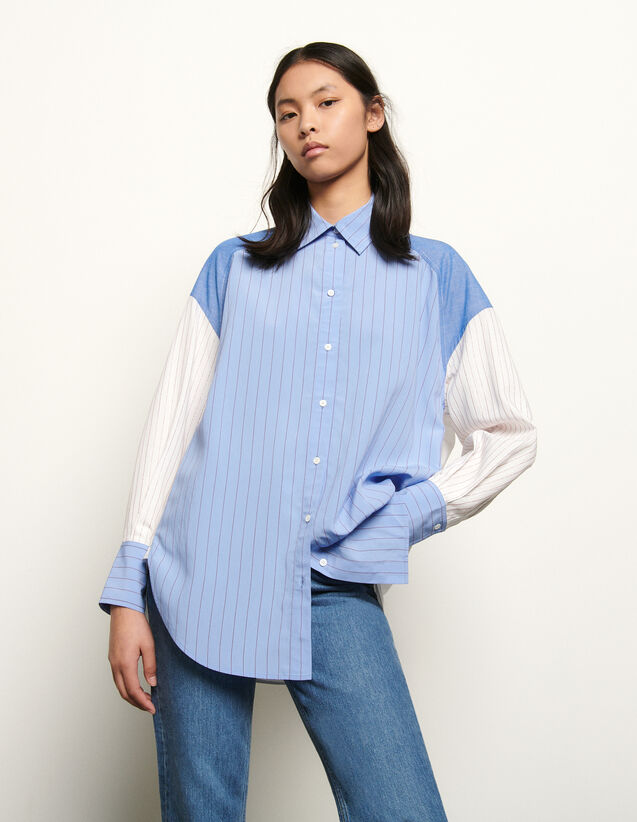 Oversized striped patchwork shirt : Summer Collection color Blue/white