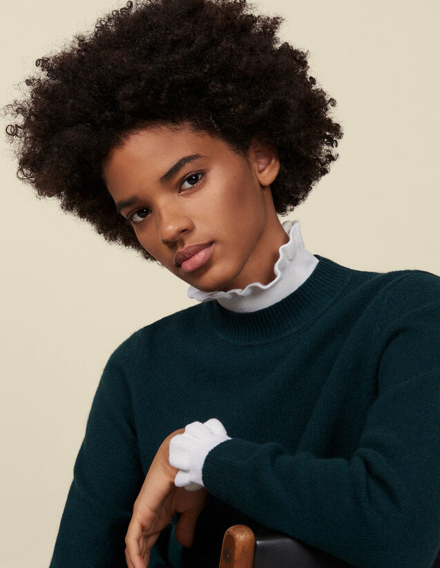 High-neck sweater and contrasting cuffs : Sweaters & Cardigans color Green