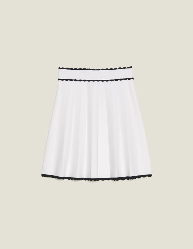 Pleated Effect Short Knit Skirt : Skirts & Shorts color Ecru