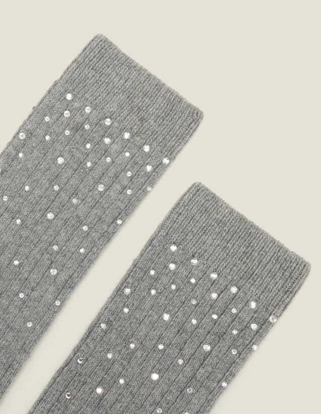 Socks embellished with rhinestones : All Winter collection color Dark Grey