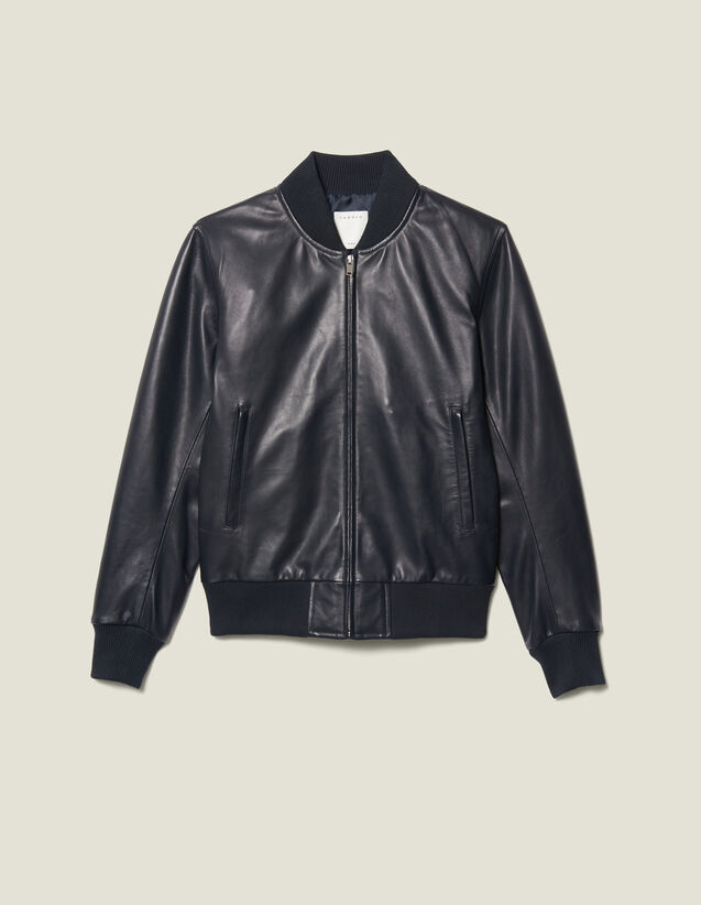 Zipped leather jacket : Blazers & Jackets color Navy Blue