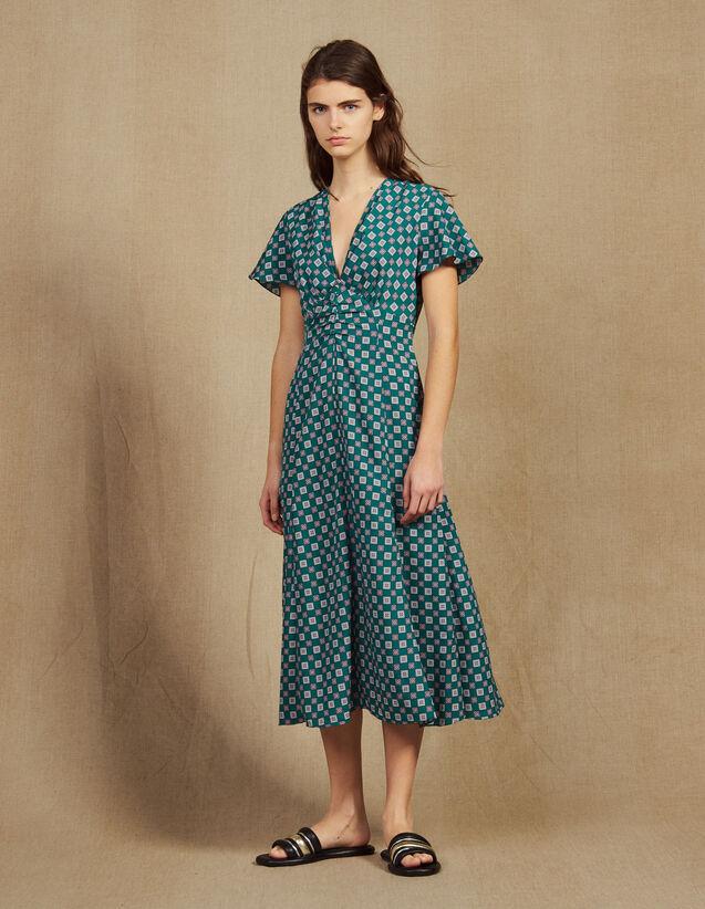 Short-Sleeved Printed Flowing Dress : Dresses color Green