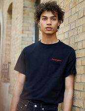 Cotton T-Shirt With Lettering : Winter Collection color Navy Blue