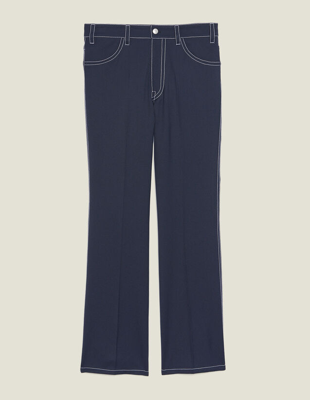 Trousers With Contrasting Topstitching : All Ready-to-wear color Navy Blue