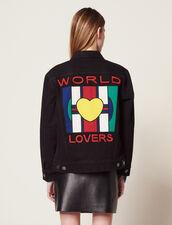 Boyfriend Fit Denim Jacket With Patch : null color Black