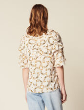 Flowing Printed Top : Printed shirt color Ecru