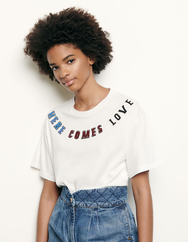 T-shirt with message patch : T-shirts color white