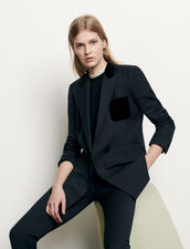 Tailored jacket with velour pocket : Blazers & Jackets color Navy Blue