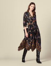 Long printed dress with pleated skirt : LastChance-ES-F40 color Black
