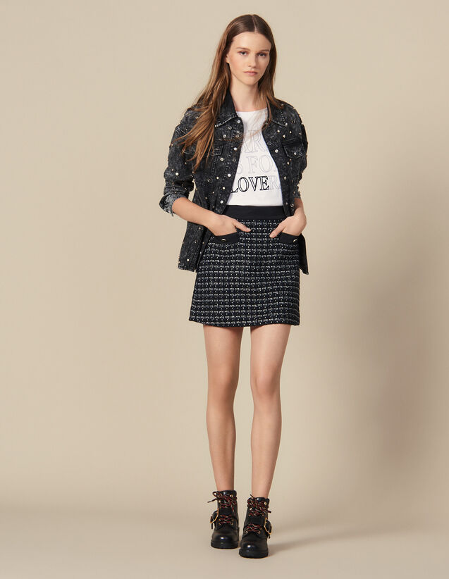 Short A-line tweed skirt : Skirts & Shorts color Navy Blue