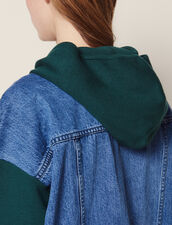 Dual Fabric Hoodie Cardigan : Sweaters & Cardigans color Green