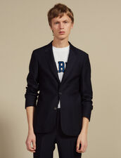 Basketweave Wool Suit Jacket : SOLDES-CH-HSelection-PAP&ACCESS-2DEM color Navy Blue