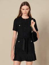 Short dress with pleated skirt bottom : LastChance-FR-FPret-a-porter color Black