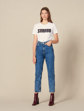 Snow wash jeans : Jeans color Blue Jean