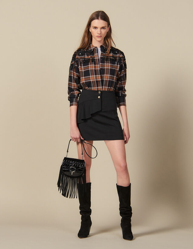 Short Skirt With Asymmetric Ruffle : New In color Black