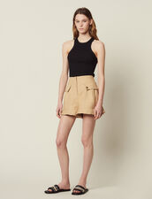 Ruffled Shorts : Skirts & Shorts color Beige