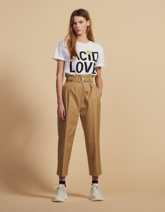 Belted High-Waisted Trousers : LastChance-FR-FSelection color Beige