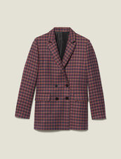 Checked Double-Breasted Blazer : New In color Multi-Color
