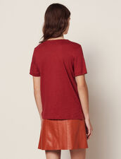 Short-Sleeved Linen T-Shirt : null color Terracotta